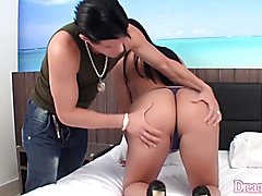 Sexy tranny gets naked and gives her buddy a nice blowjob Then she takes it in her asshole a...