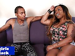 Black transsexual pounded doggystyle and jizzed on big ass