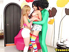 Latina tranny jerking cock while assfucked in trio with female