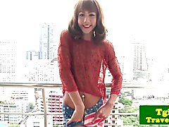 Solo tgirl jerking off and fingering her ass after showing off her trap body