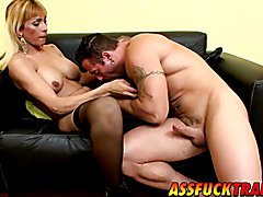 Enjoy in this super hot sex video while adorable shemale with massive tits and horny stud pl...