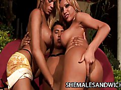 Shemale bombshells Aline Santos and Mickelly unleashed their sexual fury on a lucky guy's ho...