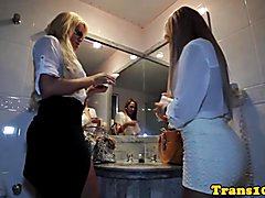 Latina tranny escorts enjoying hardcore threeway fun with their client