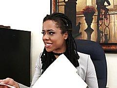 WANKZ- Ebony boss Kira Noir is craving some fresh black pussy Its her lucky day when Jenna F...