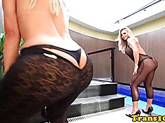 Bigtitted tgirl doggystyles tattooed tranny in twosome