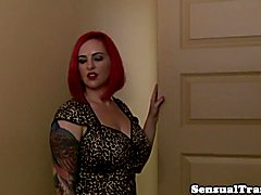 Chubby lesbian tgirl in lingerie cocksucked into submission