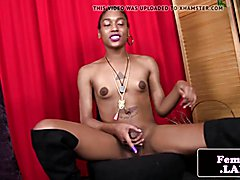 Ebony tgirl amateur in thigh high boots stroking her cock solo
