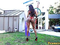 Ebony tgirl riding strapon before doggystyle fucking lingerie lady