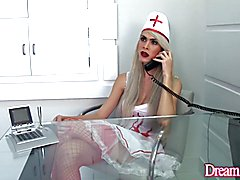 Sexy tgirl nurse tortures her patient and make him suck her dick before she fucks him right ...