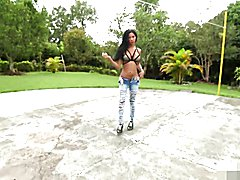 Stunning black tranny with big tits strips for you. Watch her jerk that big black she cock h...