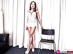 Tattooed Asian Tgirl Cake in white lingerie rubs her cock - Ladyboydream.tube