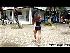 Gorgeous big titted teen ladyboy girlfriend takes off her sexy clothes, strokes and cums in ...