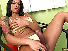Sexy tgirl plays with her dick and gets sucked by a guy Then she fucks the guy in his asshol...