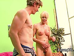 Double anal fucking for transexual shemale Joanna Jet