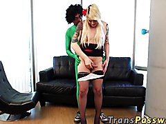 Hot blonde chubby shemale getting that massive cock in ass doggystyle after she blows it and...