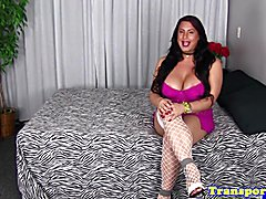 Hugetits tranny in fishnet stockings tugging her cock until cum