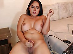 Beautiful Trap Shemale Masturbates Her Big Cock & Cums