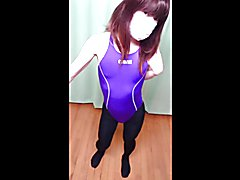 I wore racing swimsuit and black tights.