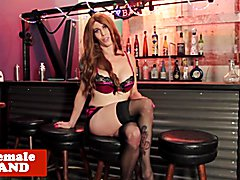 Mature ginger trans beauty toys ass while tugging solo