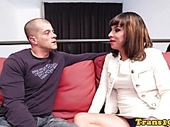 Busty latina tgirl jerking during assfucking after cocksucking lucky guy