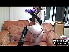 OMFG Kinky amateur trap in latex fucks her tight ass with an extremely huge monster dildo an...
