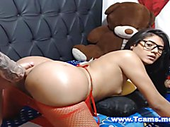 Sizzling hot big Latina shemale ass literally hot and sexy getting a hard fuck from behind w...