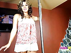 Rubbing her big tranny cock on the dance pole. Naomi Chi gets off. Join her now to see the r...