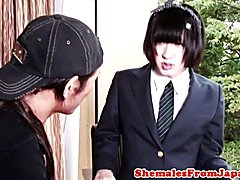Nippon tranny in schoolgirl uniform dickriding reversecowgirl while jerked off