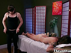 Naughty TS masseuse feet fucks babe before plowing her pussy on table