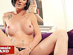 Busty inked trans beauty wanks cock solo