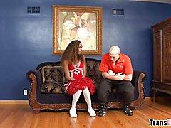Ebony T-girl Becca takes Christian XXX's huge cock