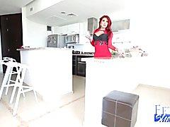 Redhead shemale Natalie jerks off her big she cock. Nice big tranny tits too