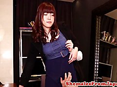 Cocksucking nippon tgirl assfucked standingup after riding dick cowgirl