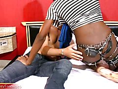 Kinky dude tickled her tight ass by spreading her thick booty cheeks before she took his thr...