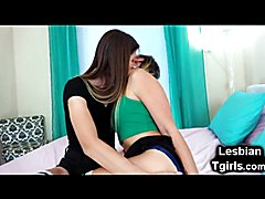 Stunning young amateur tgirl April Lee and her trap girlfriend Korra Del Rio sucking and fuc...
