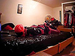 chastised, pluged, gagged with cum soaked panties.... tried a self hogtie but was able to e...