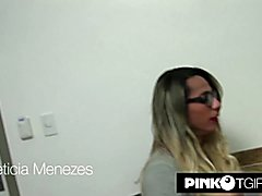 Leticia Menezes is taking part to a private guitar lesson. But she isn't really interes...