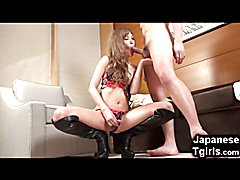 Skinny young asian shemale Erina Aisaki looks absolutely gorgeous in black leather boots. Sh...