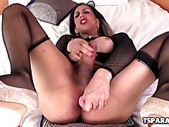 Fernanda Khelher is a sexy and very naughty Latin shemale babe who strokes her big cock whil...