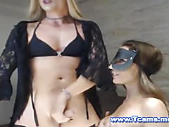 A masked busty babe really want some shemale cock right to her mouth so she suck that blonde...