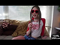 Looking sexy as hell in her red stockings, slender teenage trap Kira Crash can't wait to pul...