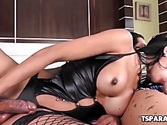 Thais Tavares and Melyna Merlin are two smoking hot shemale babes who enjoy having some hot ...