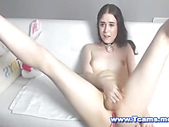 Shemale with a hot clean waxed dick balls and asshole she rubs to please herself and gave he...