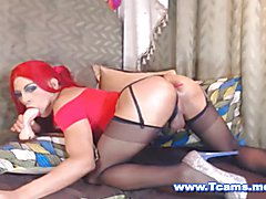 Big ass and big hard cock shemale in front of her webcam for a hot anal toying and cock jerk...