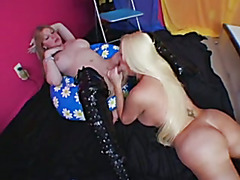 Two of the hottest T-girl pornstars stroking and sucking.