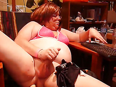 Chubby CD Rides Dildo and Cums