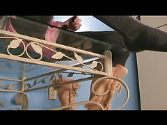 Crossdresser in wet tights cums on glass table and licks it up.