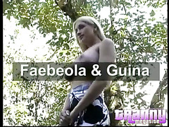 Big tit blonde shemale gets freaky outdoors with her dark lover