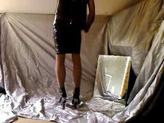 Kinky tranny slut loves to get dressed in exciting outfits and she loves latex a lot. Today ...