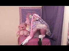 Crossdresser Katie-Ann dresses up as a kinky Hello Kitty in a full body stocking.